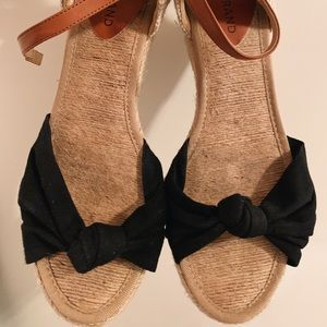 Lucky Brand Mini Wedge Heels, Black Knotted